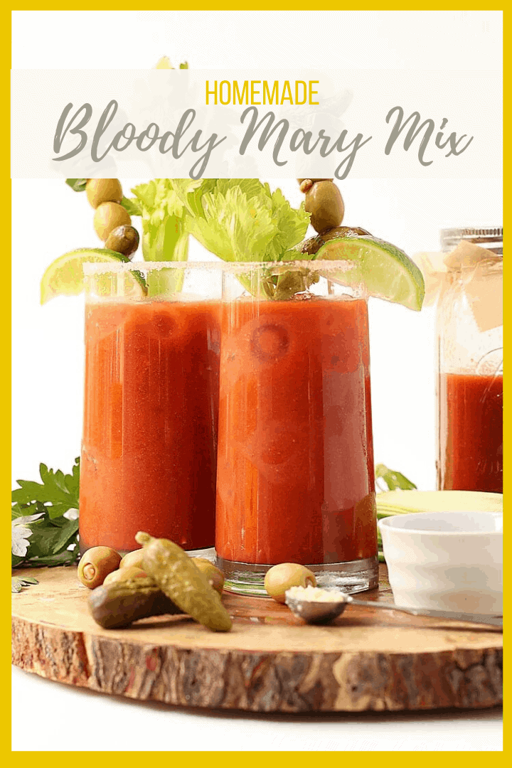 Make your Bloody Mary's from scratch with this homemade Bloody Mary Mix - a combination of sweet and savory to get your morning started off right.