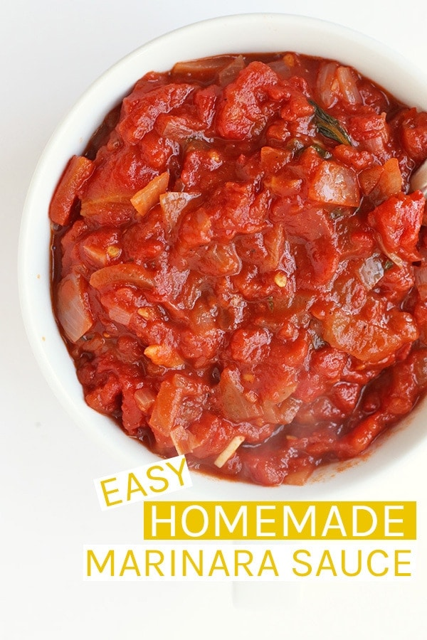This easy Homemade Marinara Sauce is filled with fresh flavors for a quick pasta sauce to be served over your favorite noodles; a meal the family will love. Made in just 30 minutes. #vegan #pasta #pastasauce #marinara #homemade #veganrecipes