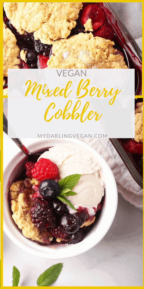This mixed berry cobbler is an easy and delicious dessert for your backyard barbecues this summer. Serve it with homemade ice cream for a creamy and refreshing sweet treat.