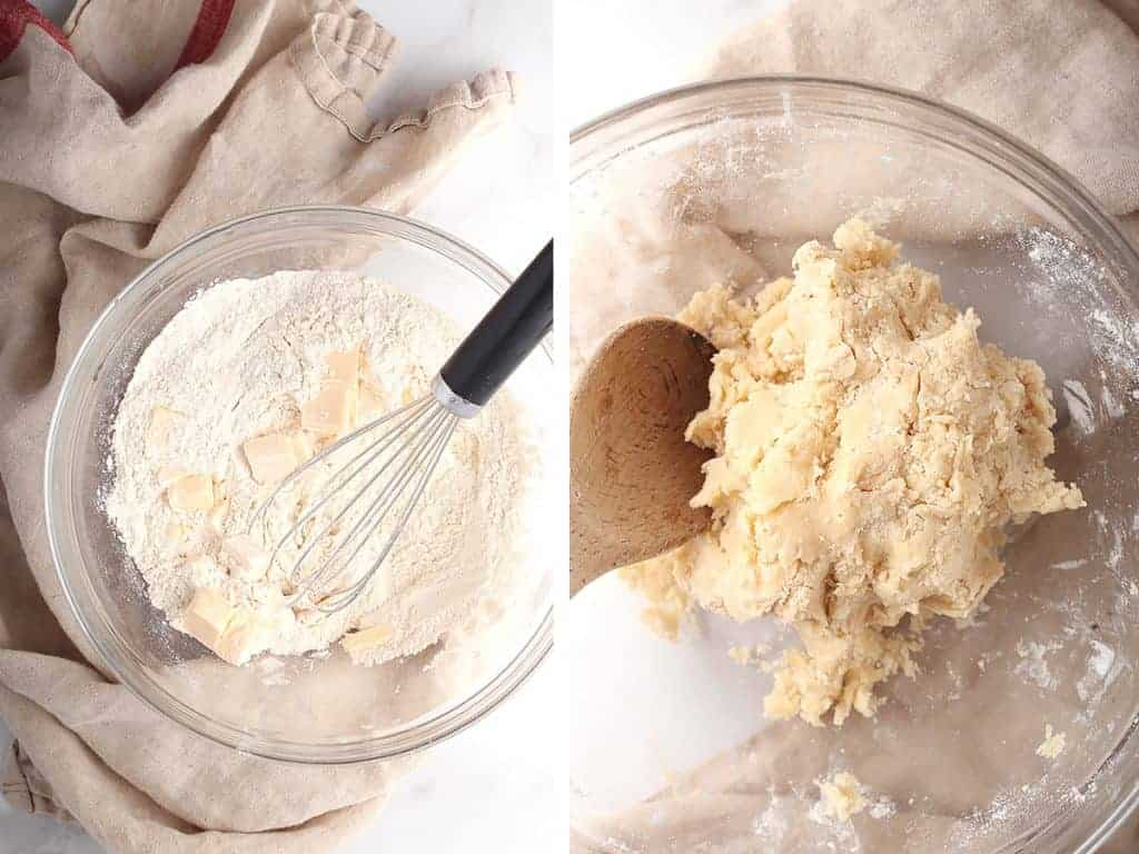 Biscuit dough in a glass mixing bowl