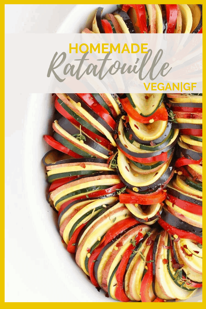 This ratatouille recipe is made with thinly sliced squash, bell peppers, eggplant, and potatoes, all cooked in a homemade marinara sauce for a delicious naturally vegan and gluten-free dinner.