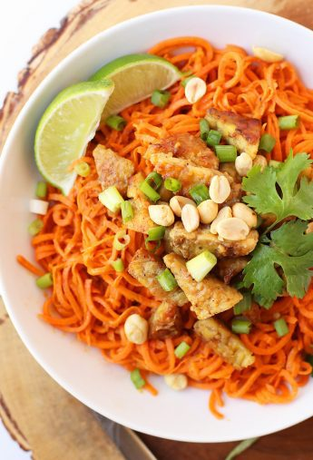 Spiralized Sweet Potatoes with Ginger Peanut Tempeh
