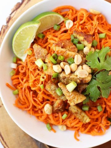 Sweet Potato Noodles with Peanut Tempeh.