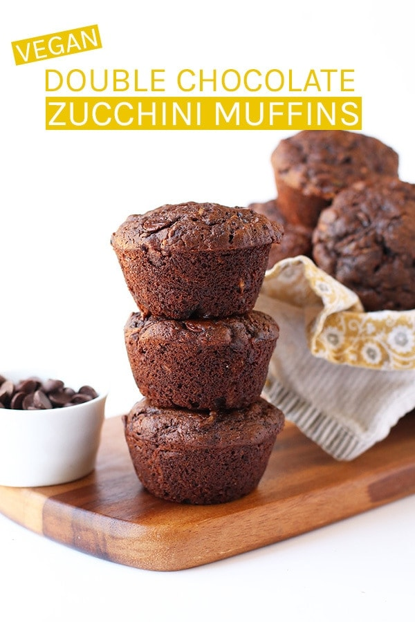 Delicious and indulgent Double Chocolate Zucchini Muffins. These easy vegan muffins can be made in just 35 minutes for a chocolate-filled, zucchini-packed, dairy and egg-free sweet treat. #vegan #veganrecipes #chocolate #veganmuffins #chocolatemuffins #zucchinirecipes