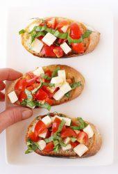 Tomato Basil Bruschetta on a white plate