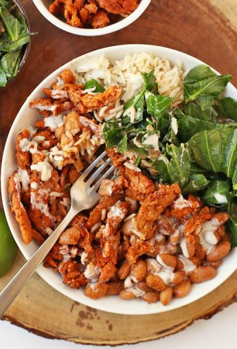 BBQ Soy Curls Bowl with Ranch Dressing