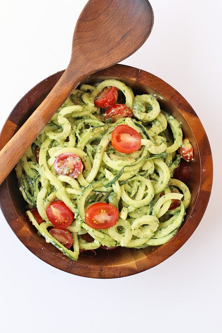 Zucchini noodle salad in a wooden salad bowl