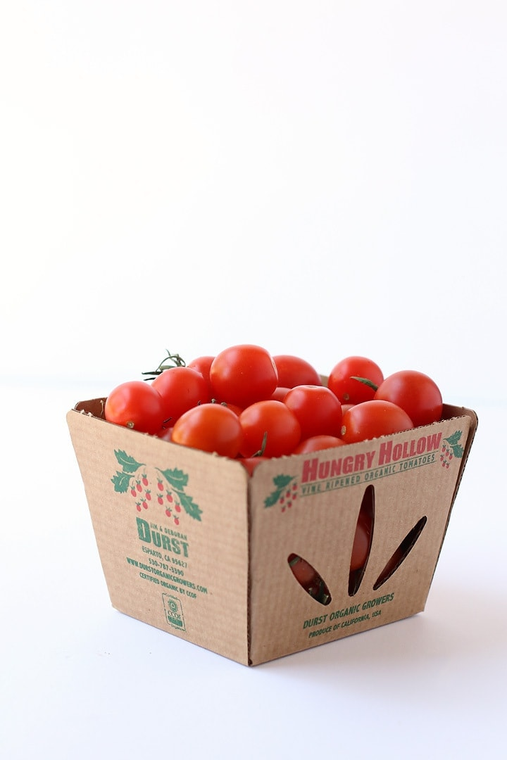 Pint-sized box of cherry tomatoes.