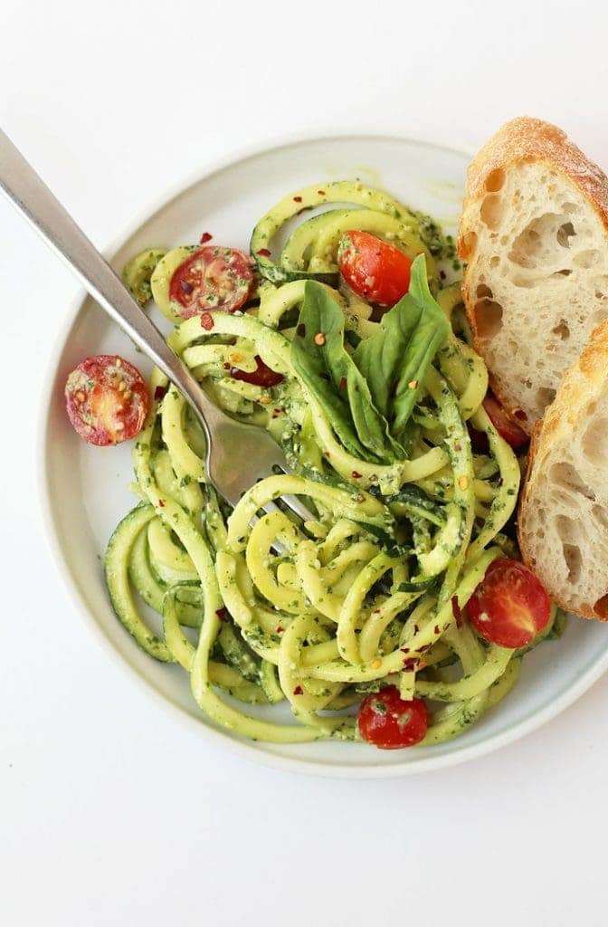 Zucchini Noodles with Pesto and cherry tomatoes.