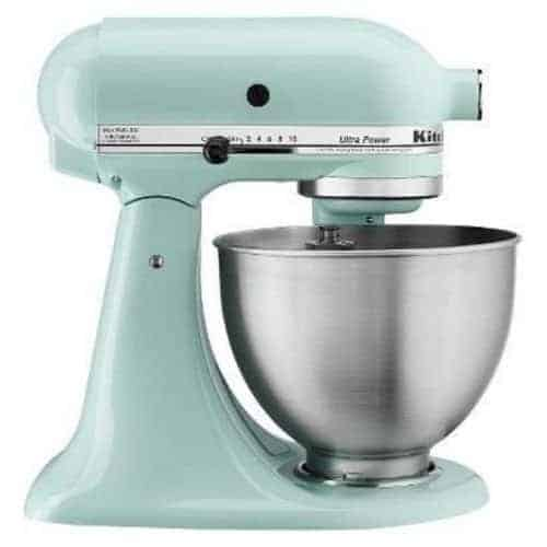 teal stand-up mixer