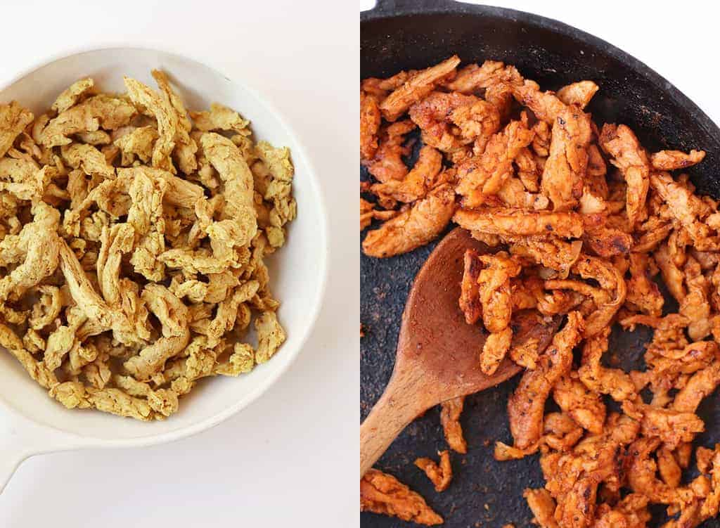 Sautéed soy curls in a cast iron skillet