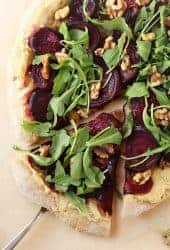 Roasted Beet Pizza with Arugula and Cashew Cheese