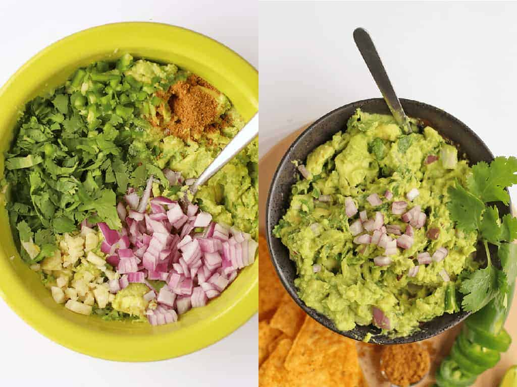 Homemade guacamole with tortilla chips