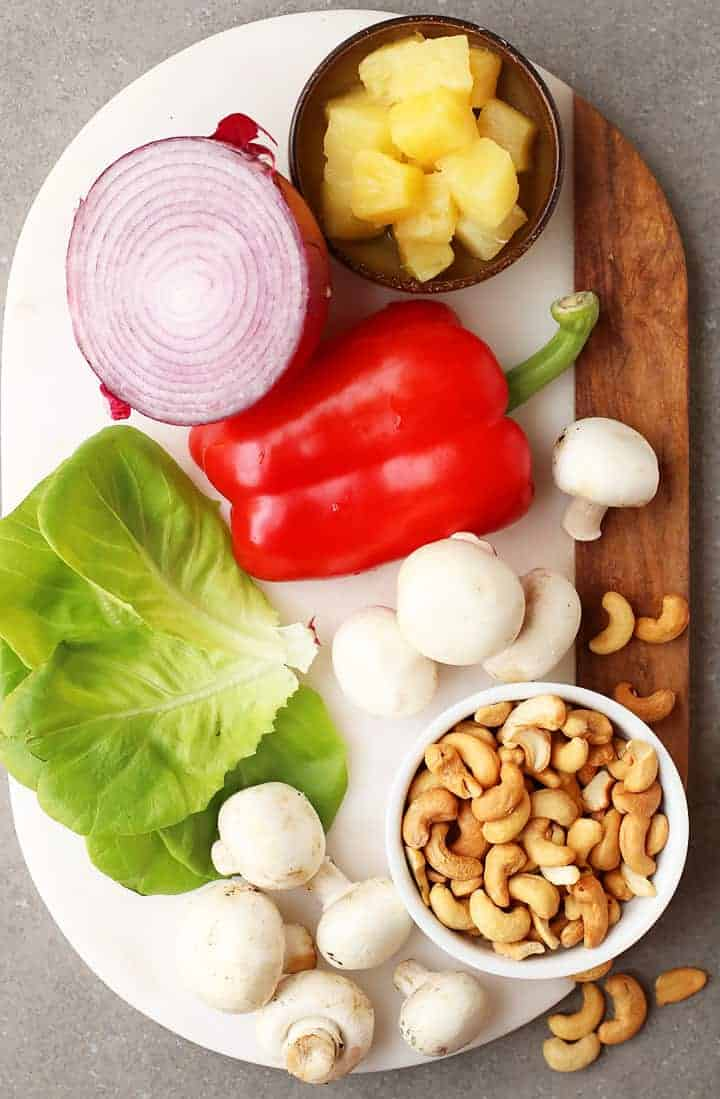 Ingredients for Vegan Lettuce Wraps on a marble platter