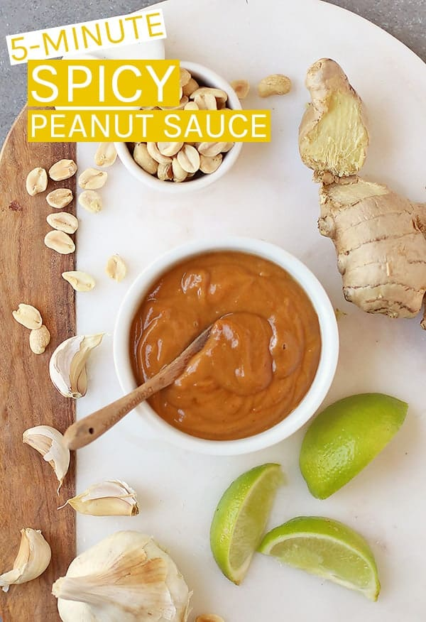 This easy 5-minute Thai Peanut Sauce is made with a few simple ingredients. It's the perfect sauce for salads, spring rolls, noodles, and more. Creamy, zesty, and with a little bit of heat, it's finger-licking good! #vegan #veganrecipes #peanutsauce #thai #dippingsauce