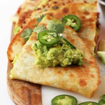 Stack of vegan quesadillas.