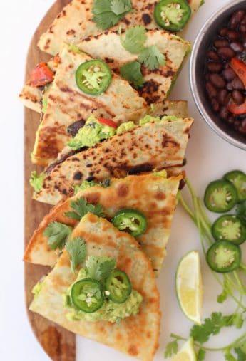 Loaded Vegan Quesadillas with Homemade Guacamole