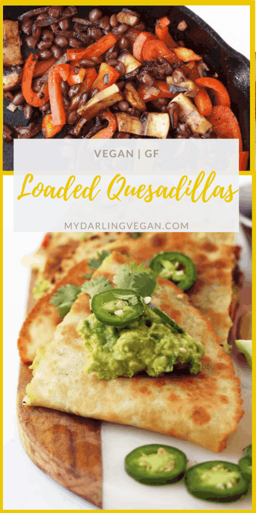Fully Loaded Vegan Quesadillas – filled with fajita grilled vegetables, black beans, and guacamole and topped with fresh cilantro and jalapeños. Cooked inside aMission® Gluten Free Soft Taco Tortillafor a delicious vegan and gluten-free meal.