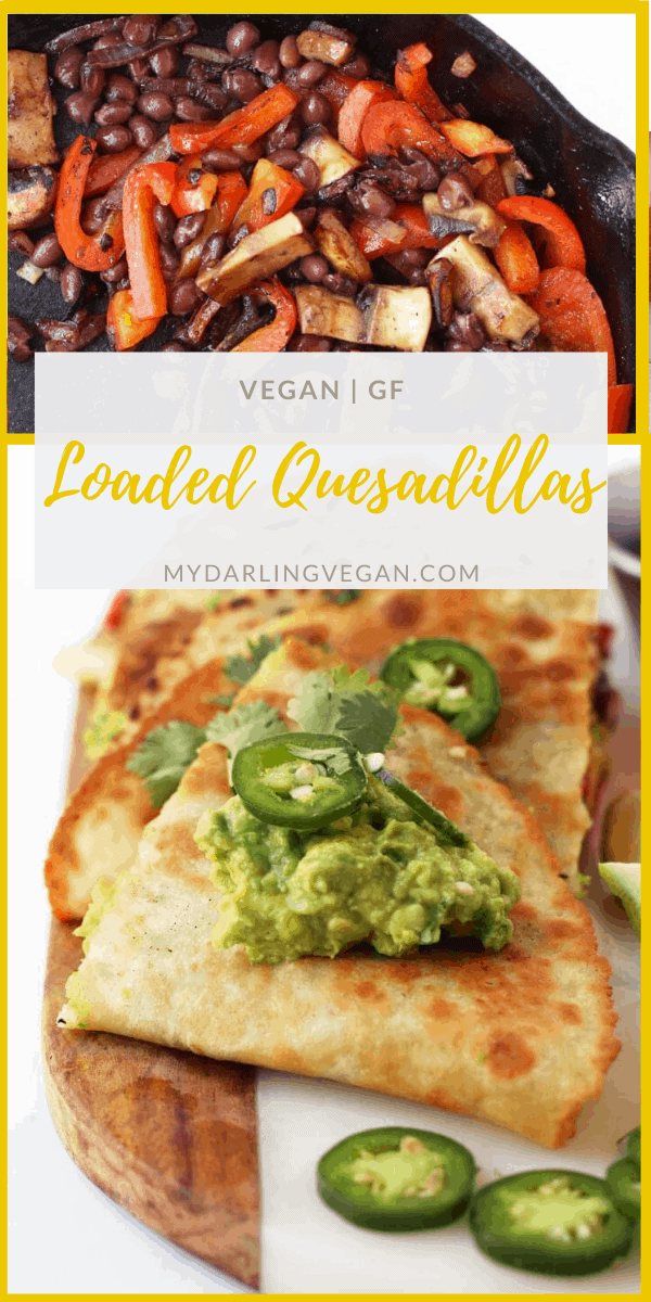 Fully Loaded Vegan Quesadillas – filled with fajita grilled vegetables, black beans, and guacamole and topped with fresh cilantro and jalapeños. Cooked inside a Mission® Gluten Free Soft Taco Tortilla for a delicious vegan and gluten-free meal.