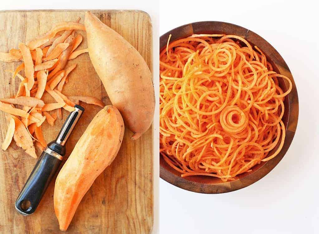 Peeled and spiralized sweet potatoes