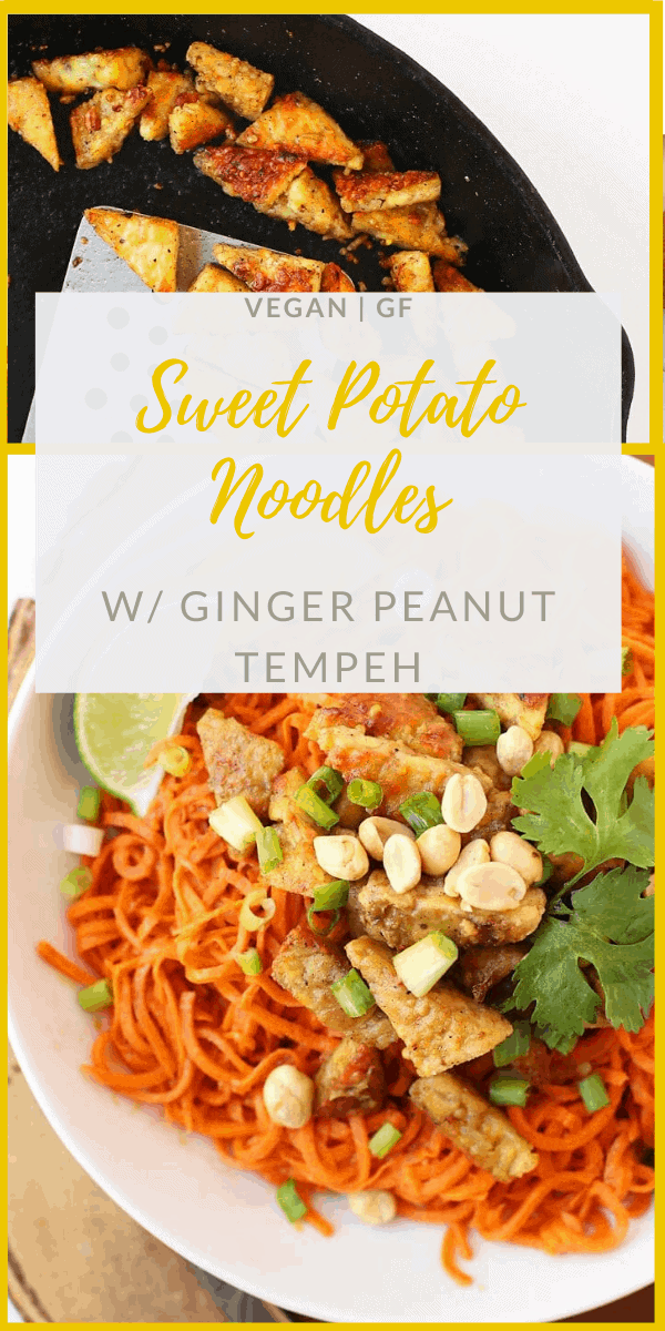 Lighten up with these Spiralized Sweet Potatoes with Ginger Peanut Tempeh - sweet, tangy, and with a little bit of crunch. Made with just 4 ingredients in under 30 minutes for a vegan and gluten-free meal.