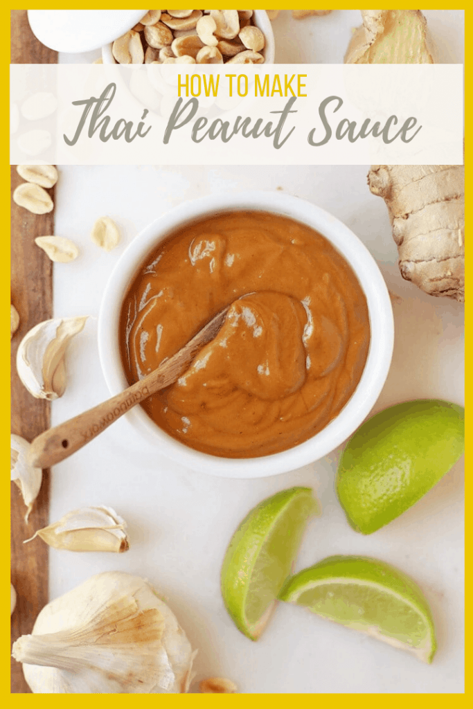 This easy 5-minute Thai Peanut Sauce is made with a few simple ingredients. It's the perfect sauce for salads, spring rolls, noodles, and more. Creamy, zesty, and with a little bit of heat, it's finger-licking good!