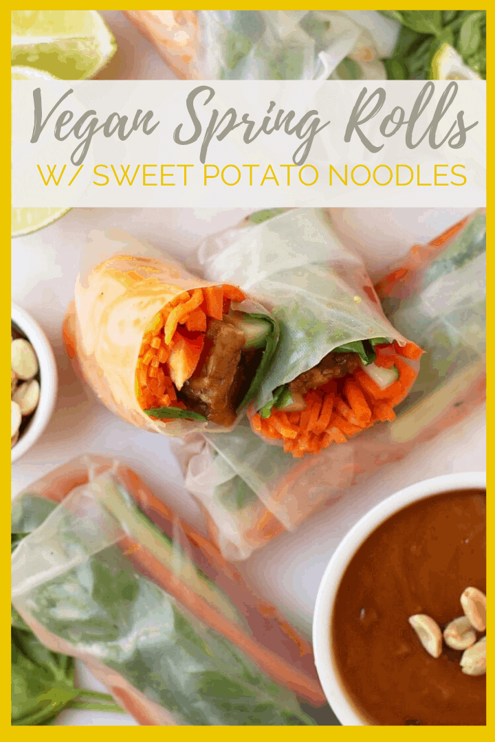 Vietnamese-style vegan spring rolls made with sweet potato noodles and ginger peanut tempeh for a light and refreshing plant-based gluten-free meal. Made in just 20 minutes!