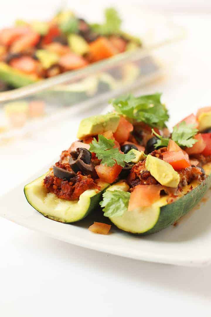 Stuffed Zucchini Boats on a white plate