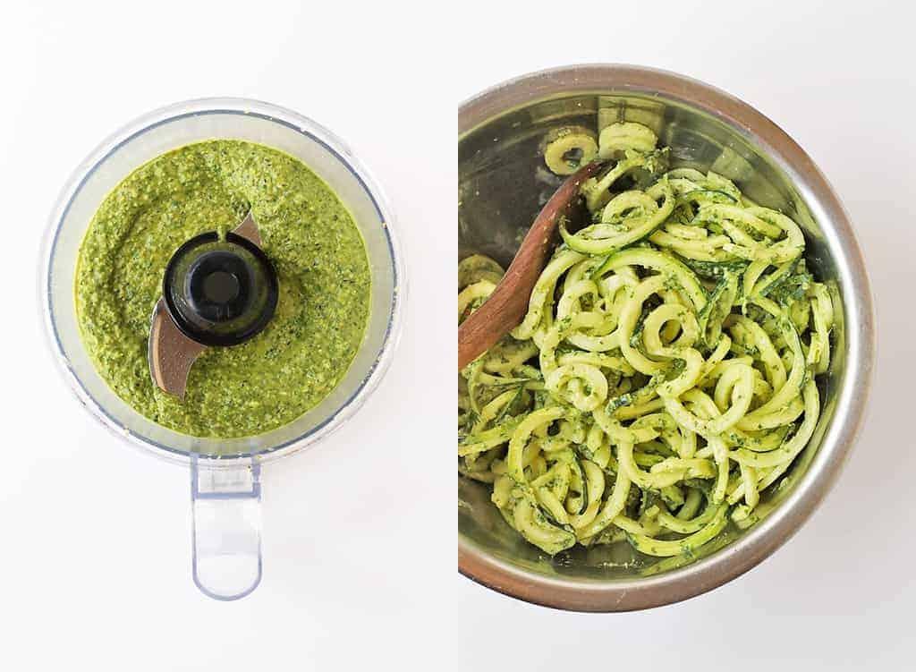 Zucchini noodles tossed in homemade pesto