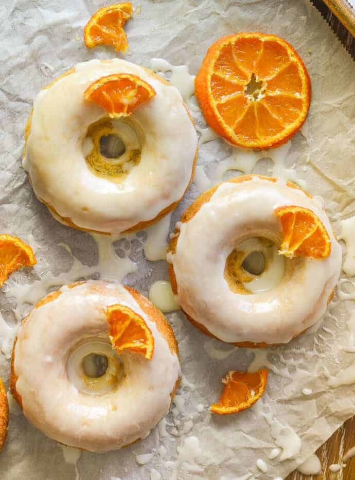 Sticky Orange Baked Doughnuts