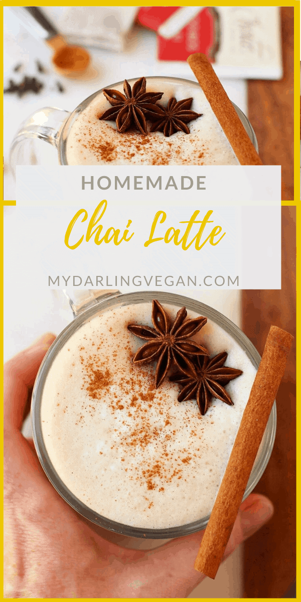 Save money and learn how to make a chai tea latte at home! A warm and spicy spiced tea blended with frothed milk for only a fraction of the price! Made in under 10 minutes.