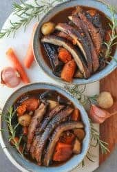 Vegan Pot Roast with portobello and fresh rosemary.