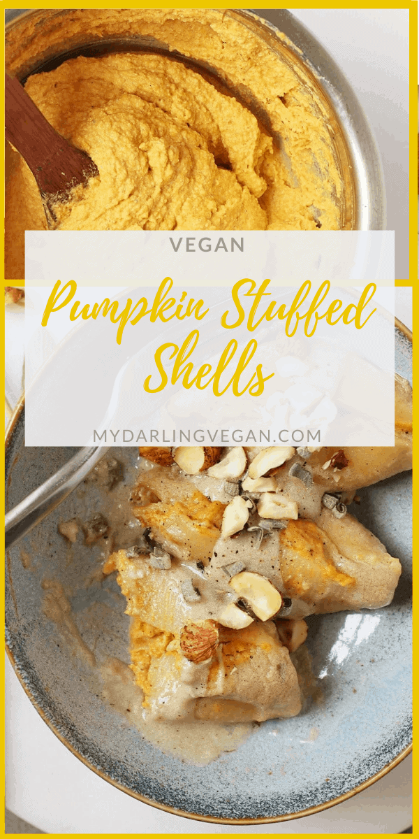 These Pumpkin and Cashew Ricotta Vegan Stuffed Shells are topped with Sage Béchamel Sauce for a delicious plant-based pasta dish that the whole family will love.