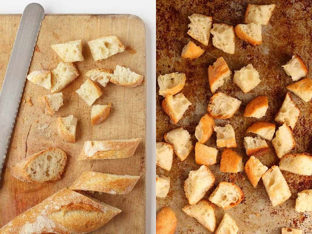 French baguette cut up into croutons
