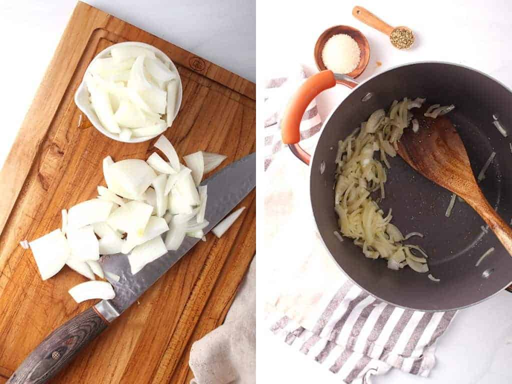 Sliced and sautéed onions in a large soup pot.