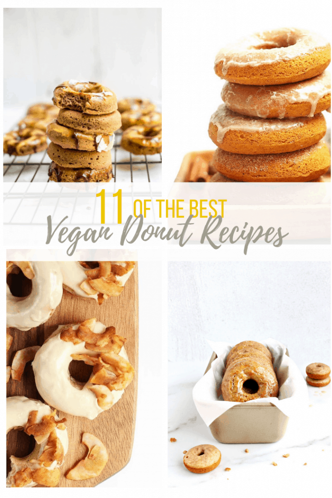 Collage with 4 images of stacked donuts.