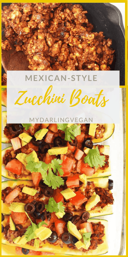 These Mexican-Style Stuffed Zucchini Boats are made with a taco-spiced tempeh filling and topped with fresh tomatoes and avocado for an easy weeknight vegan and gluten-free dinner.