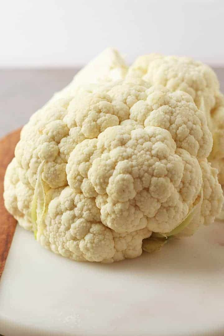 Head of cauliflower on a marble board