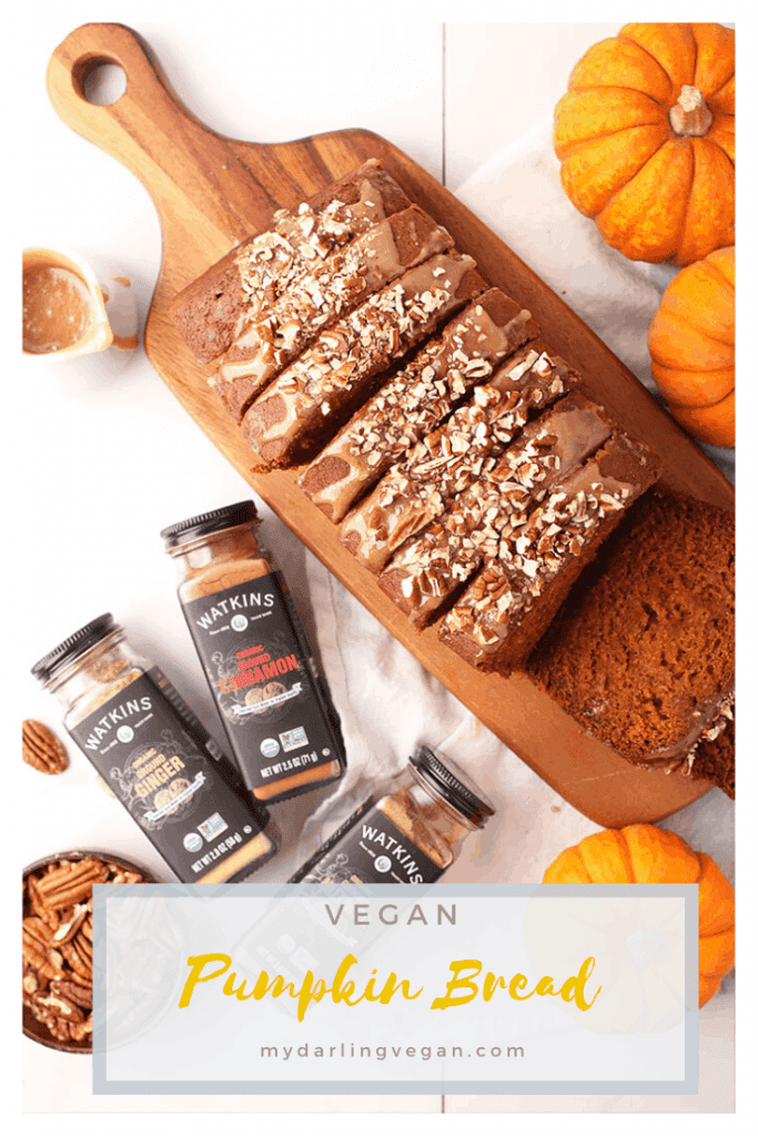You're going to love this delightfully moist and perfectly spiced vegan pumpkin bread. It's topped with brown sugar glaze and toasted pecans for the ultimate fall pastry or homemade holiday gift.