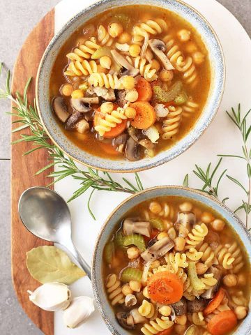 Chickpea Vegetable Noodle Soup in two bowls.