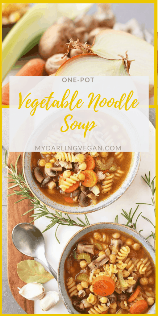 Cozy up with this Chickpea Vegetable Noodle Soup. It's filled with vegetables, chickpeas, and noodles and seasoned with Italian herbs for a delicious fall meal. Made in one pot in under 30 minutes!