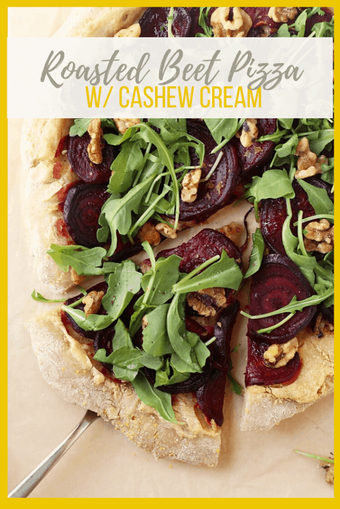 Celebrate autumn's harvest with a sweet and tart Roasted Beet Pizza with Arugula and Cashew Cheese. A deliciousand seasonal pizza pie for the whole family.