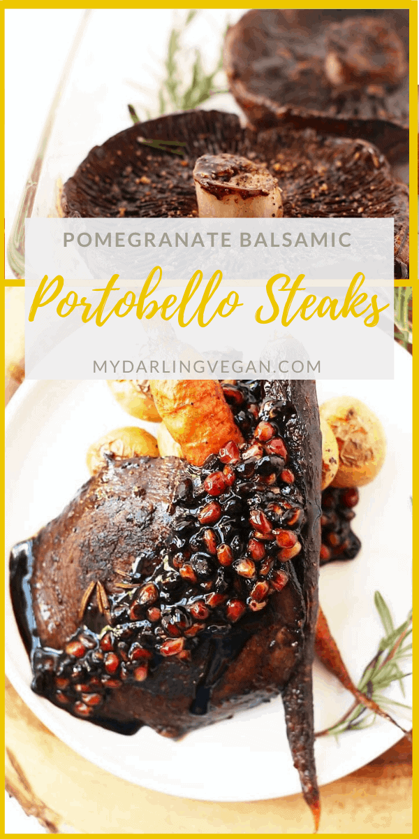 Deliciously seasonal Pomegranate Balsamic Portobello Steaks - so tender and meaty, these mushroom steaks make the perfect winter meal. Made with just 6 ingredients!