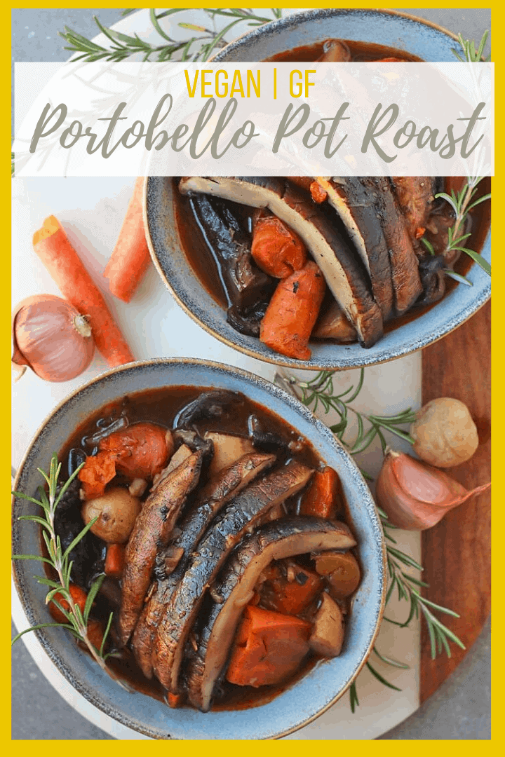 Get cozy with this perfect weeknight stew. A vegan pot roast made with portobellos, carrots, and potatoes, all cooked inside an Instant Pot for the ultimate easy fall meal.