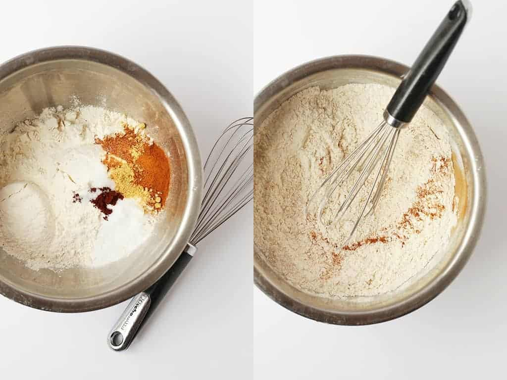 Flour and spices mixed together in a metal mixing bowl