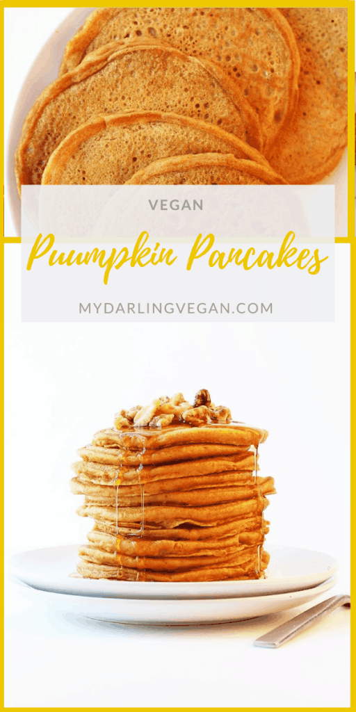 Start your morning off with these perfect vegan pumpkin pancakes. Seasonally spiced, light, and fluffy, no one will believe these sweet pancakes are egg-free. Serve with maple syrup.