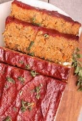 Vegan Meatloaf with lentils and mushrooms covered in maple tomato glaze.
