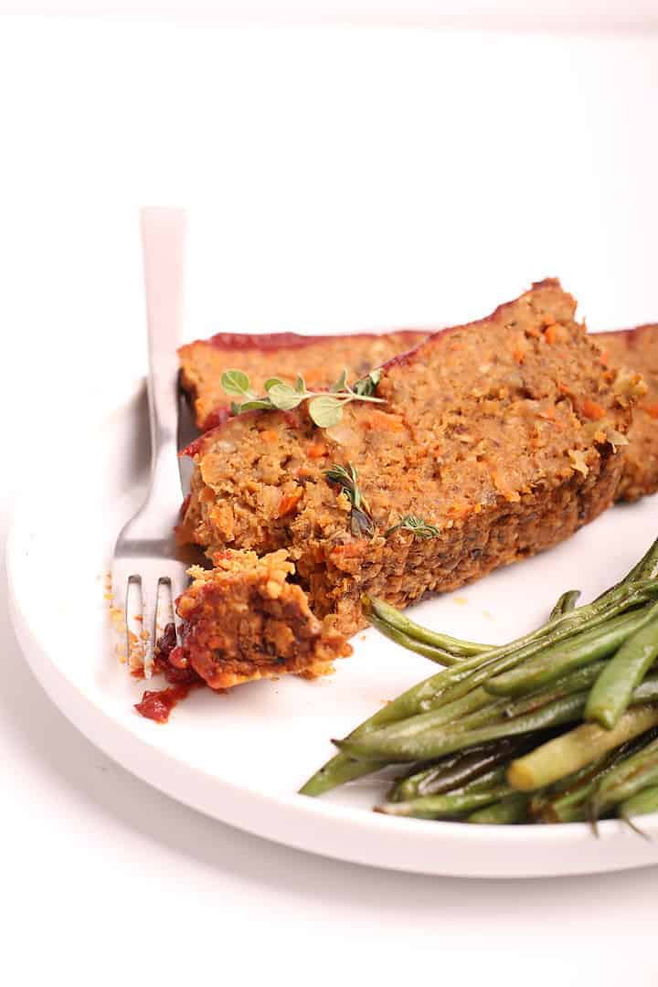 Vegan Meatloaf on white plate