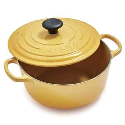 Yellow Cast Iron Soup Pot