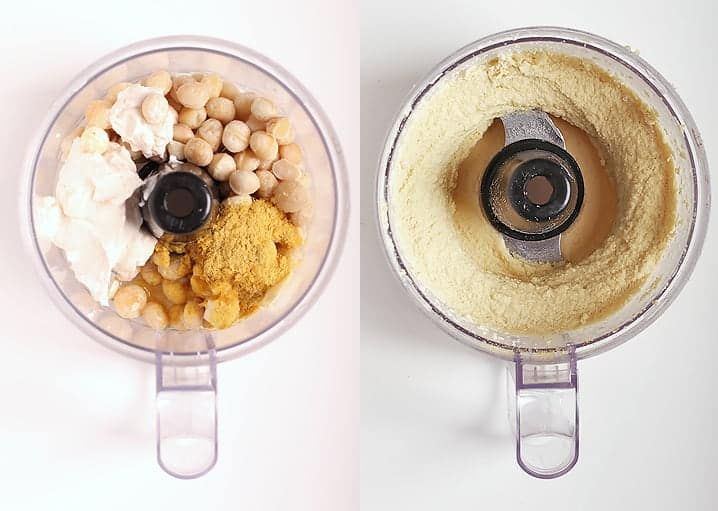 Macadamia Nut Vegan Cheese in a food processor before and after.